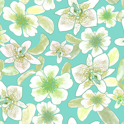 Digital Art - Green Spotted Orchids On Turquoise by Karen Dyson
