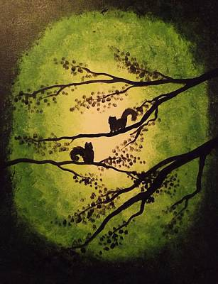 Painting - Green Squirrels  by Sunshine Ammerman