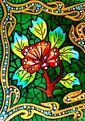 Painting - Green Stained Glass With Flower  by Dora Hathazi Mendes