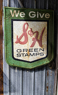Green Stamp Sign Print by Peter Chilelli