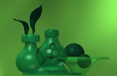 Relief Digital Art - Green Still Life by Alberto RuiZ