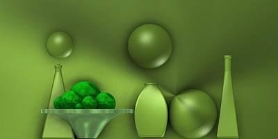 Vases Digital Art - Green Still Life With Green Fruits, by Alberto RuiZ