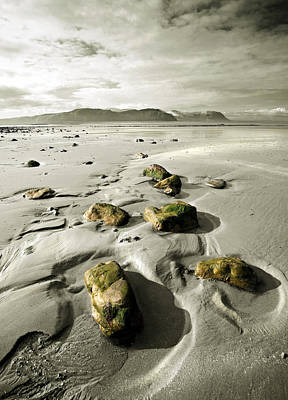 Green Stones On A North Wales Beach Art Print by Mal Bray