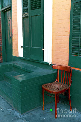 Green Stoop In The French Quarter Art Print