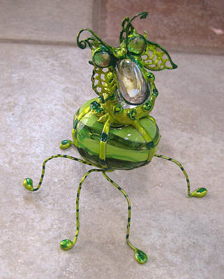 Sculpture - Green Stripe Bobble Bug by Maxine Grossman