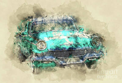 Light Paint Painting - Green Studebaker by Delphimages Photo Creations