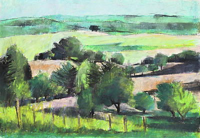 Painting - Green Summer Landscape,plein Air Oil Pastel by Martin Stankewitz