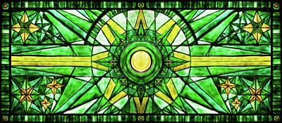 Drawing - Green Sun by Elena Vedernikova