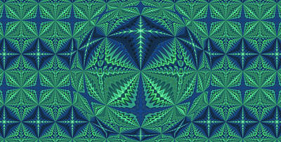 Digital Art - Green Symmetrical Pattern, Kaleidoscope by Ernst Dittmar