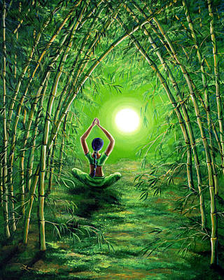 Bamboo Painting - Green Tara In The Hall Of Bamboo by Laura Iverson