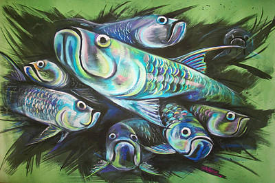 Mixed Media - Green Tarpon Collage by Jacqueline Endlich