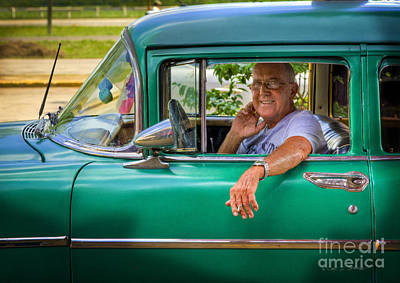 Photograph - Green Taxi Driver by Craig J Satterlee