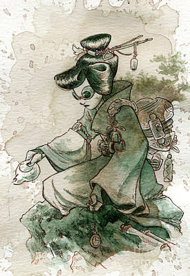 Geisha Painting - Green Tea by Brian Kesinger