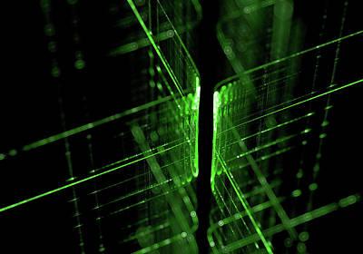 Green Technology Lines Background Art Print