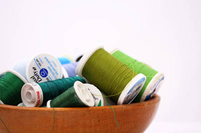 Quilting Photograph - Green Thread Bowl by Nancy Ingersoll