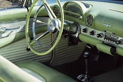 Photograph - Green Thunderbird Wheel And Front Seat by Heather Kirk