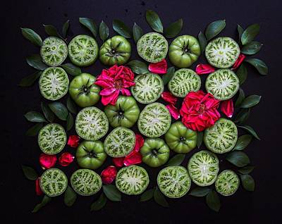 Photograph - Green Tomato Patterns by Sarah Phillips