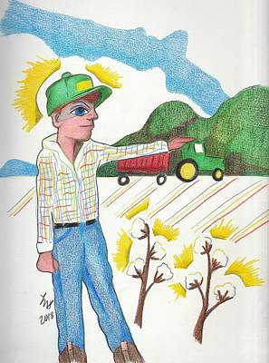Drawing - Green Tractor Hat by Loretta Nash