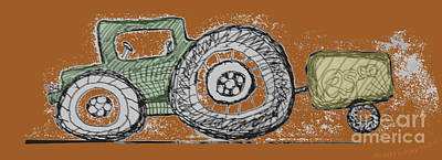 Digital Art - Green Tractor by Ray Hunt