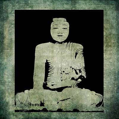 Painting - Green Tranquil Buddha by Kandy Hurley