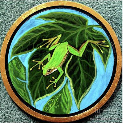 Painting - Green Tree Frog by Anna Folkartanna Maciejewska-Dyba
