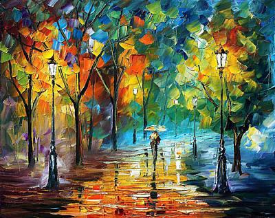 Paintings Colorful Leaves People Walking Through