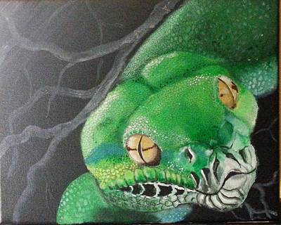 Green Tree Python Original by Judit Szalanczi
