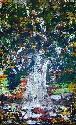 Subliminal Painting - Green Tree by Rhiannon Marhi