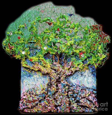 Mixed Media - Green Tree With Birds by Genevieve Esson