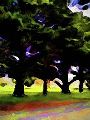 Digital Art - Green Trees In A Row by Jackie VanO