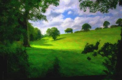 Park Scene Painting - Green Trees Nature by Celestial Images