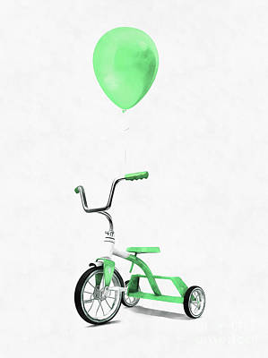 Digital Art - Green Tricycle And Balloon by Edward Fielding