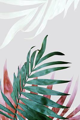 Fresh Digital Art - Green Tropical Leaves, Fern Plant by PrintsProject