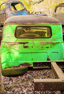 Photograph - Green Truck In Truck Graveyard by Douglas Barnett