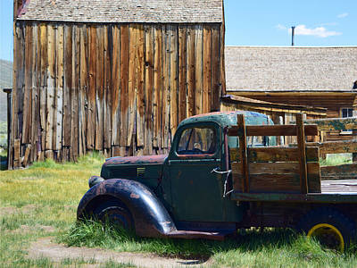 Photograph - Green Truck, Old Barn by Sandra Lynn