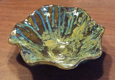 Ceramic Art - Green Turquoise Blue And Golden Brown Ceramic Bowl by Suzanne Gaff
