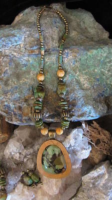 Jewelry - Green Turquoise Set In Gourd Wood #d126 by Barbara Prestridge