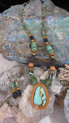 Jewelry - Green Turquoise Set In Gourd Wood #d137 by Barbara Prestridge