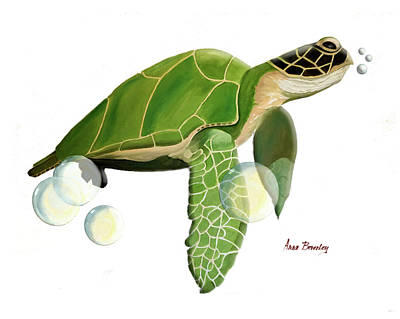 Painting - Green Turtle by Anne Beverley-Stamps