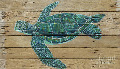 Green Turtle Art Print by Danielle Perry