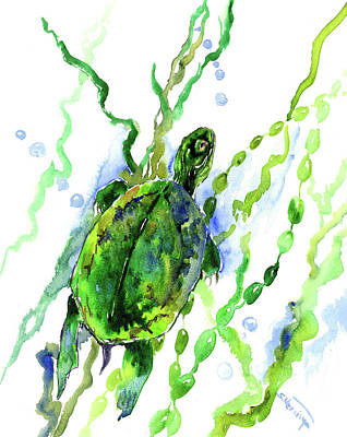 River Turtle Painting - Green Turtle In The River by Suren Nersisyan