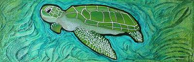 Ocean Turtle Mixed Media - Green Turtle by Laura Barbosa