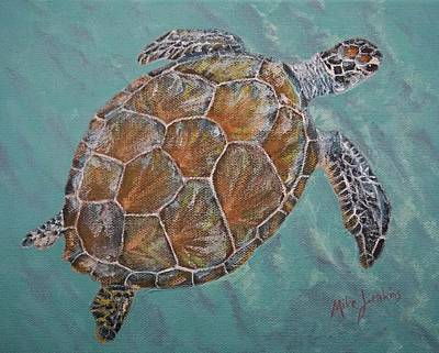 Painting - Green Turtle by Mike Jenkins