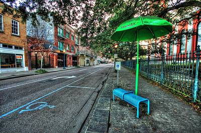 Digital Art - Green Umbrella Bus Stop by Michael Thomas