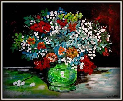 Painting - Green Vase With Flowers by Mike Benton