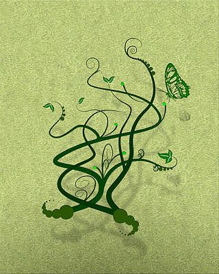 Modern Sophistication Line Drawings - Green Vine and Butterfly by Svetlana Sewell