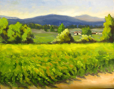Green Vines Blue Hills Original by Char Wood
