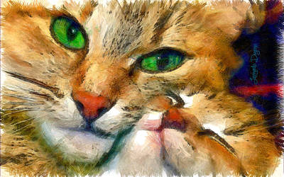 Kittens Painting - Green Vision - Da by Leonardo Digenio