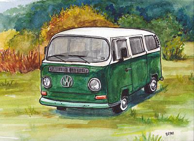 Painting - Green Vw Bus by Clara Sue Beym