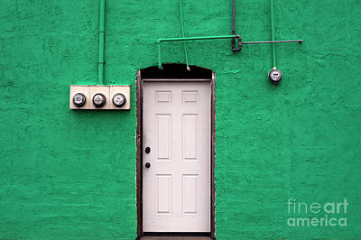 Photograph - Green Wall With White Door  by Jim Corwin